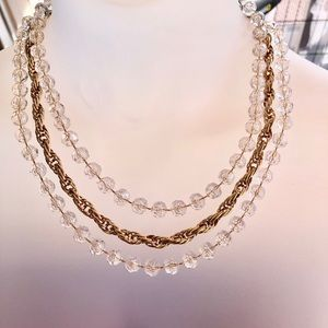 Gold Tone Sarah Coventry 3-Strand Necklace